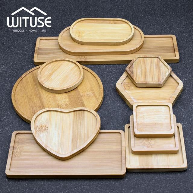 WITUSE maceta de cerámica con soporte de bambú para plantas suculentas, soporte para plantas de interior, platillos, bonsái, maceta de escritorio, bandeja para plantas de Bambú
