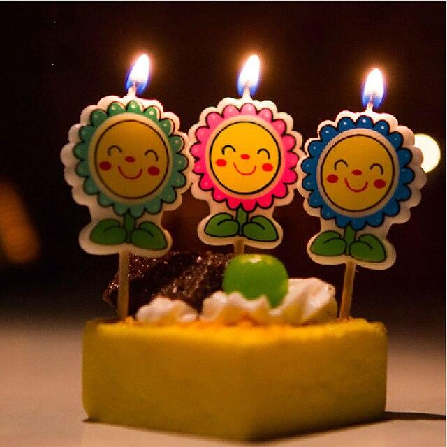 Sun Flower Harmless Happy Birthday Cartoon Romantic Vintage Candle Light Wax Set For Cake Wedding Decoration