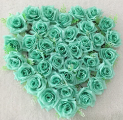 40x40cm Tiffany Blue Wedding Car Decoration Royal Blue Wedding Decoration  Mint Green Flowers Silk Flower Heart
