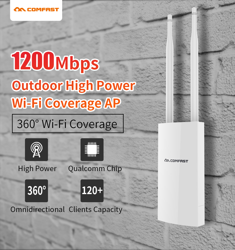 1200M 2.4G&5G Outdoor Wireless WiFi Repeater Signal Amplifier WIFI Extender With 360-Degree Omnidirectional Antennas Wide-Area