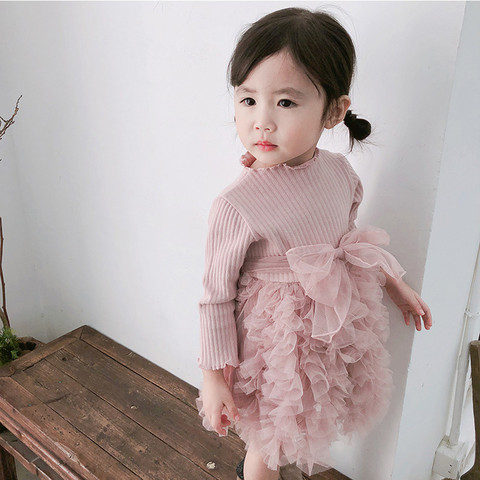MUQGEW Baby Kids Girls Clothes Knit Bow Tulle Princess Tutu Ball Gown Party Dress Clothes New born Baby Clothes Dress Multan