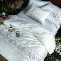 Pink white grey silk cotton luxury Bedding Set king queen size bed set Bedsheets linen set embroidery Duvet Cover pillowcase