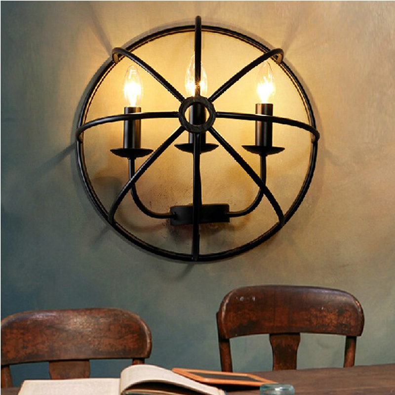 American Pastoral Rural Black Fan Wrought Iron Wall light Sconce Minimalist Living Room Study Dining Hallway Wall Lamp korean princess wrought lamp iron bedroom led lamp american pastoral style living room children chandelier
