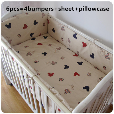Promotion! 6PCS Mickey Mouse cotton curtain crib bumper baby cotton sets baby bed arround bumper,(bumpers+sheet+pillow cover)