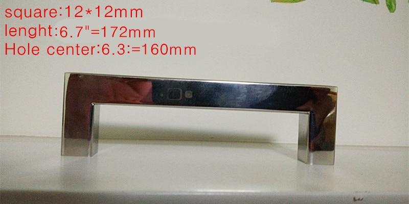 (Length:172mm)12*12mm Square Bar door handle mirror Stainless Steel Kitchen Door Cabinet Handle knob 6.7 nitro triple chrome plated abs mirror 4 door handle cover combo