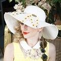 Flores para del verano sombrero para mujeres amplio blanco de ala ancha sombreros de sun