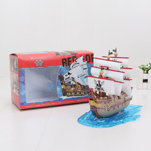 Anime One Piece Thousand Sunny Pirate Ship Boat Model & 3 figure PVC Action Figure boxed Collection Model Toy