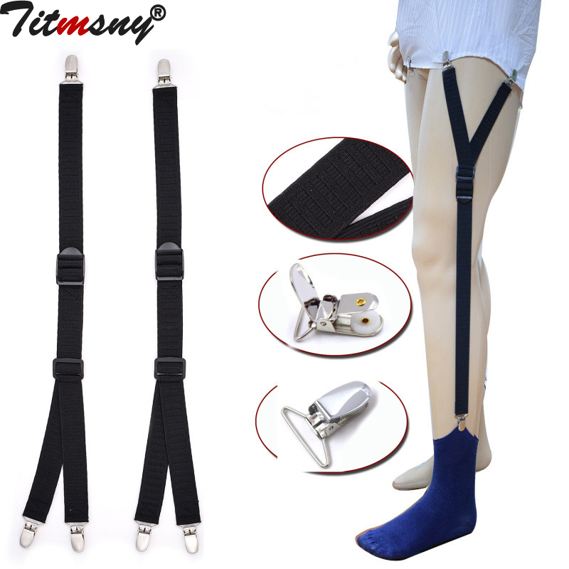 Beautiful 1 Pair New Male Shirt Garters Mans Shirt Stays Holder Leg Suspenders Adjustable Elastic Shirt Braces Gourd Buckle Shirt Garters Moderate Cost Apparel Accessories