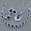925 Sterling Silver Jewelry Sets For Women Blue Created Sapphire White Topaz Bracelet Earrings Necklace Pendant Rings Free Box