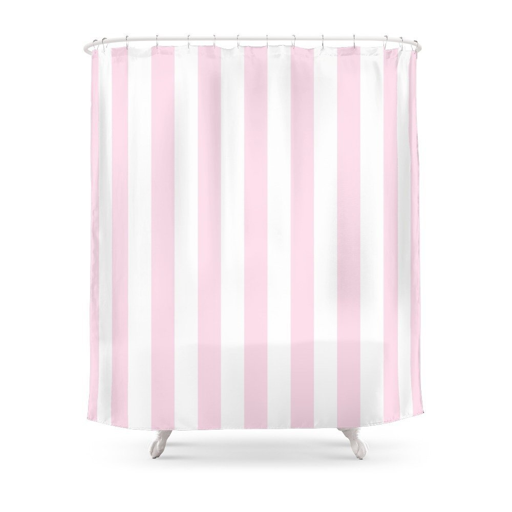 Pink And White Stripes, Vertical Shower Curtain Set