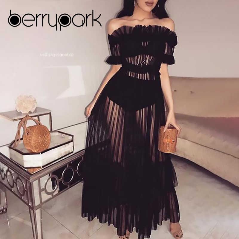 5ffe015692f BerryPark Sheer Mesh Maxi Dress Women Off the Shoulder Autumn Dress Frill  Night Club Evening Party