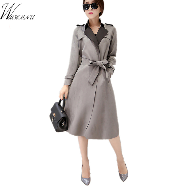 Wmwmnu Women New Arrival Real Full Fashion 3d Belt Coat 2017 New Trench For The Popular Han Edition Long High Quality Deerskin