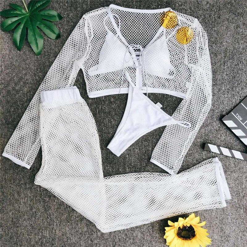 Image 4 - In X Mesh 4 piece swimsuit female Sexy see through bikini 2020 Long sleeve crop top Bikini with pants White swimwear women newBikini Set   -