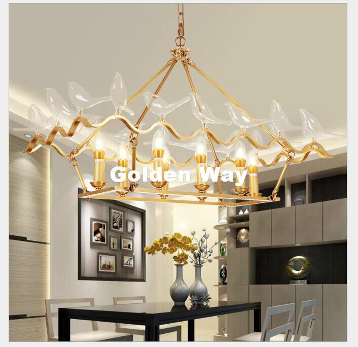 Nordique cuivre Suspension LED en laiton moderne verre oiseau 8 têtes pendentif E14 lampe Suspension lumière décoration de la maison 110 V ~ 220 V