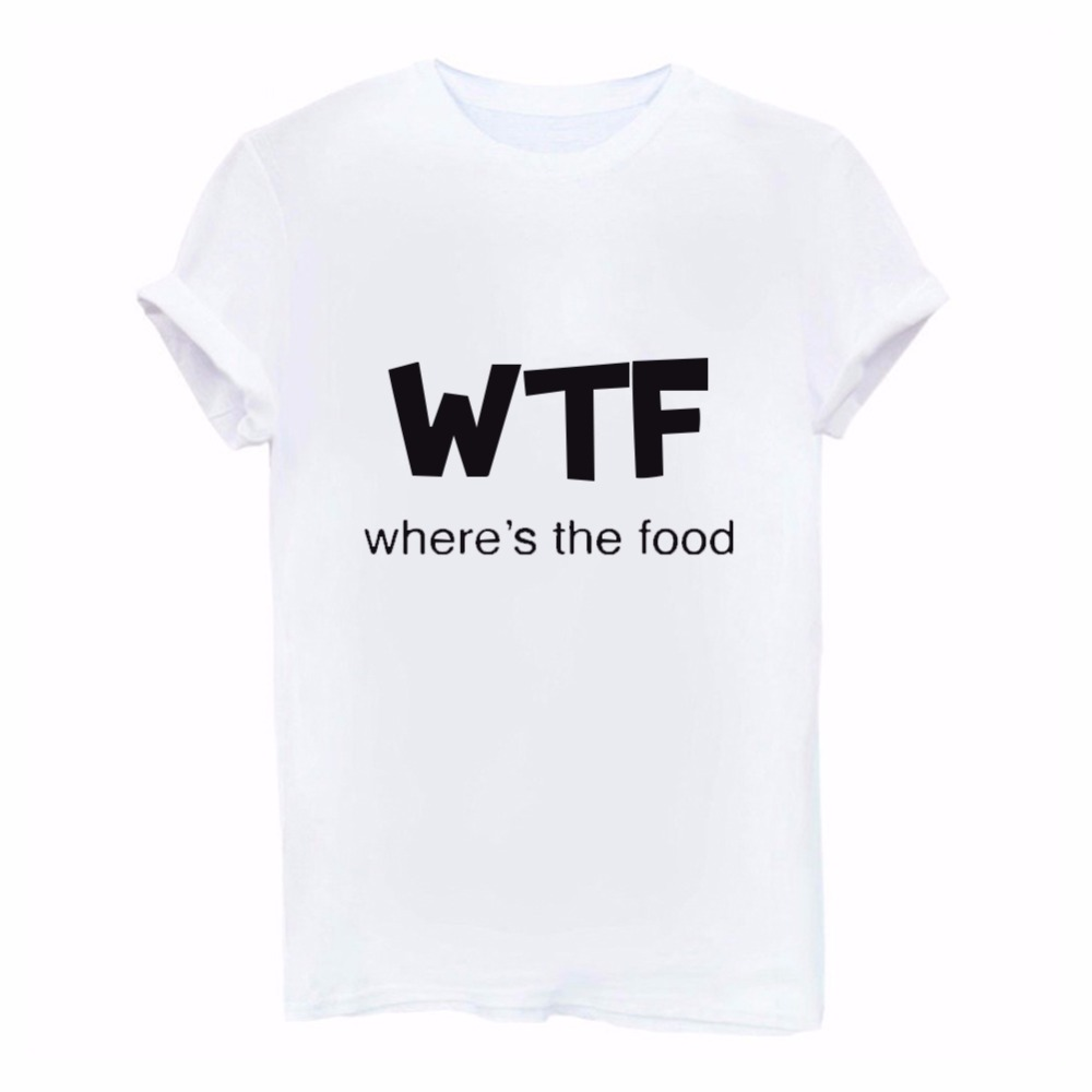 ROSASSY fashion WTF WHERES THE FOOD Letter Women T shirt Cotton Funny Casual Hipster Shirt Lady White Black Gray feme Top Tees