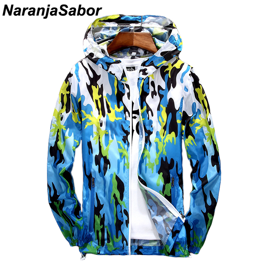 NaranjaSabor New Men Women Ultra-Light Gradient Printed Skin Jackets Men's Coats Thin Spring Autumn Quick Dry Women Hooded Coats