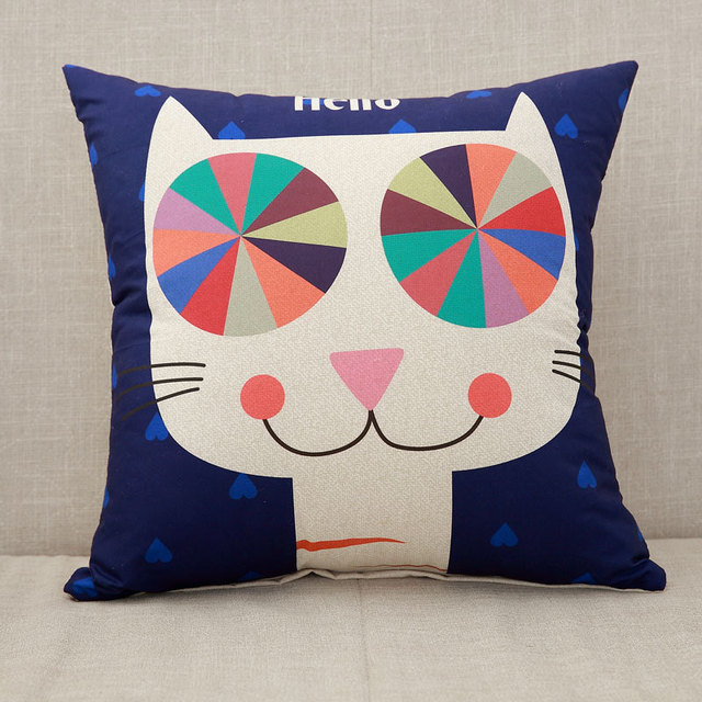 Cartoon Cat Cushion Cover Pillow Case Giraffe Throw Pillow Case For Sofa Elephant Decorative Pillowcase funda cojin kussenhoes