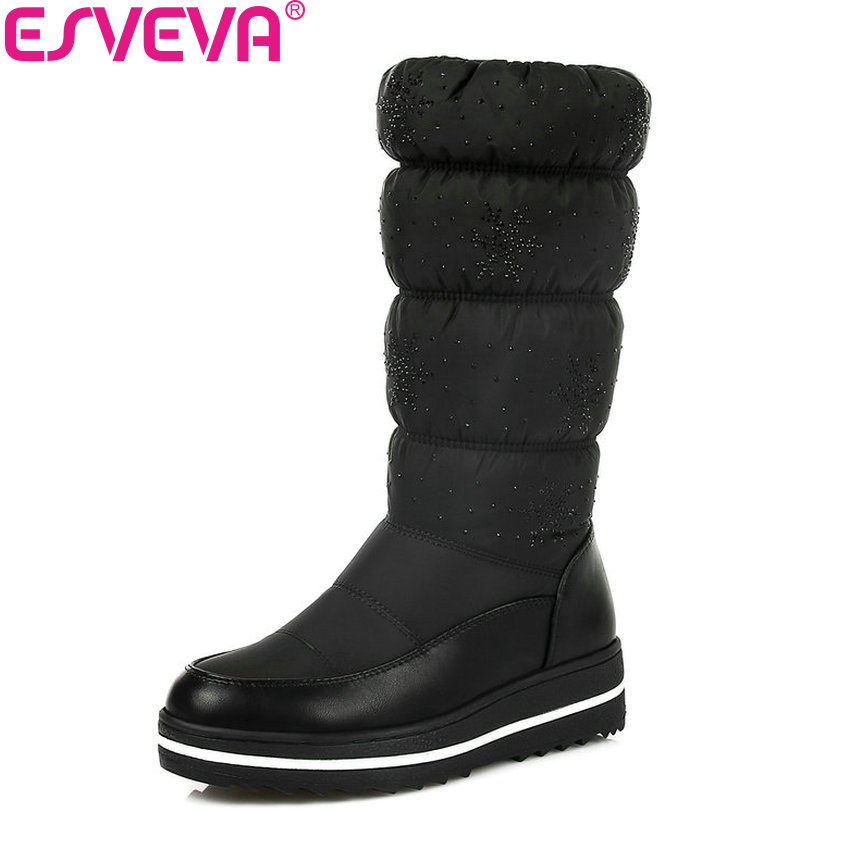 ESVEVA 2018 Comfortable Lining Shoes Women Boots Winter Short Plush Boots Mid-calf Boots Concise Med Heel Lady Boots Size 35-43 double buckle cross straps mid calf boots