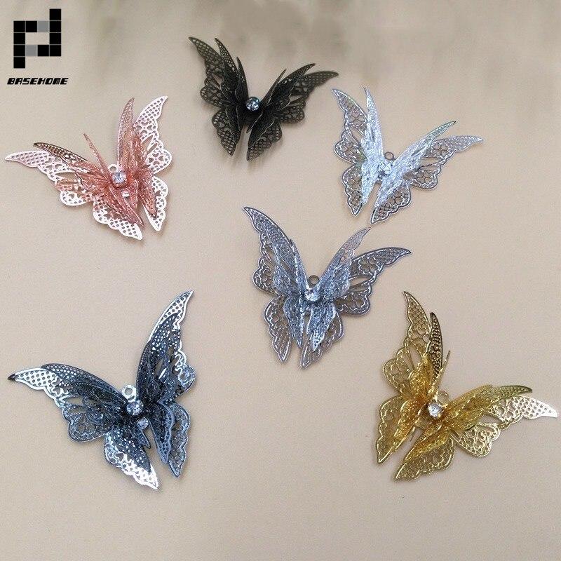 Ожерелья-бабочки BASEHOME, трехслойные ожерелья-подвески для браслета, ожерелья, аксессуары для изготовления ювелирных изделий ручной работы «...