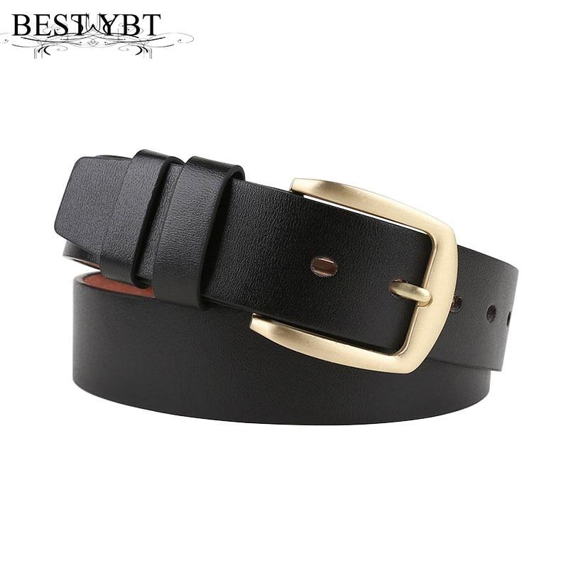 Best YBT Men   belt   Hot selling high quality Imitation leather Alloy pin buckle   belt   business affairs casual solid color   belt   Men
