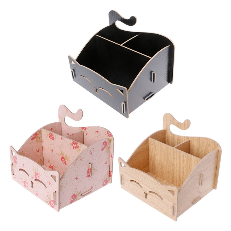 DIY Wooden Storage Box Cute Cat Makeup Case Office Pen Box Container Cosmetic Organizer Maquiagem Desktop Storage Case