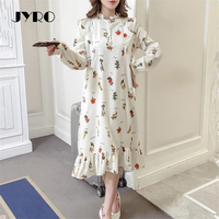 Jyro Brand Mori Women S Dress Spring New Small Fresh Print Long Loose Large Size Mid