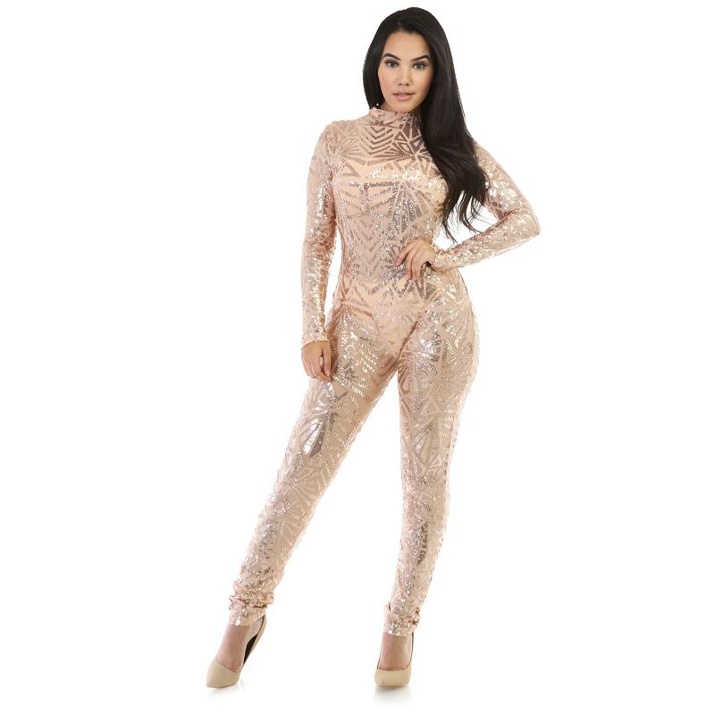 Sequined Full Length Overalls For Women Fashion Plus Size Sexy Womens Sequin Spring Party Jumpsuits and Rompers Monos Mujers