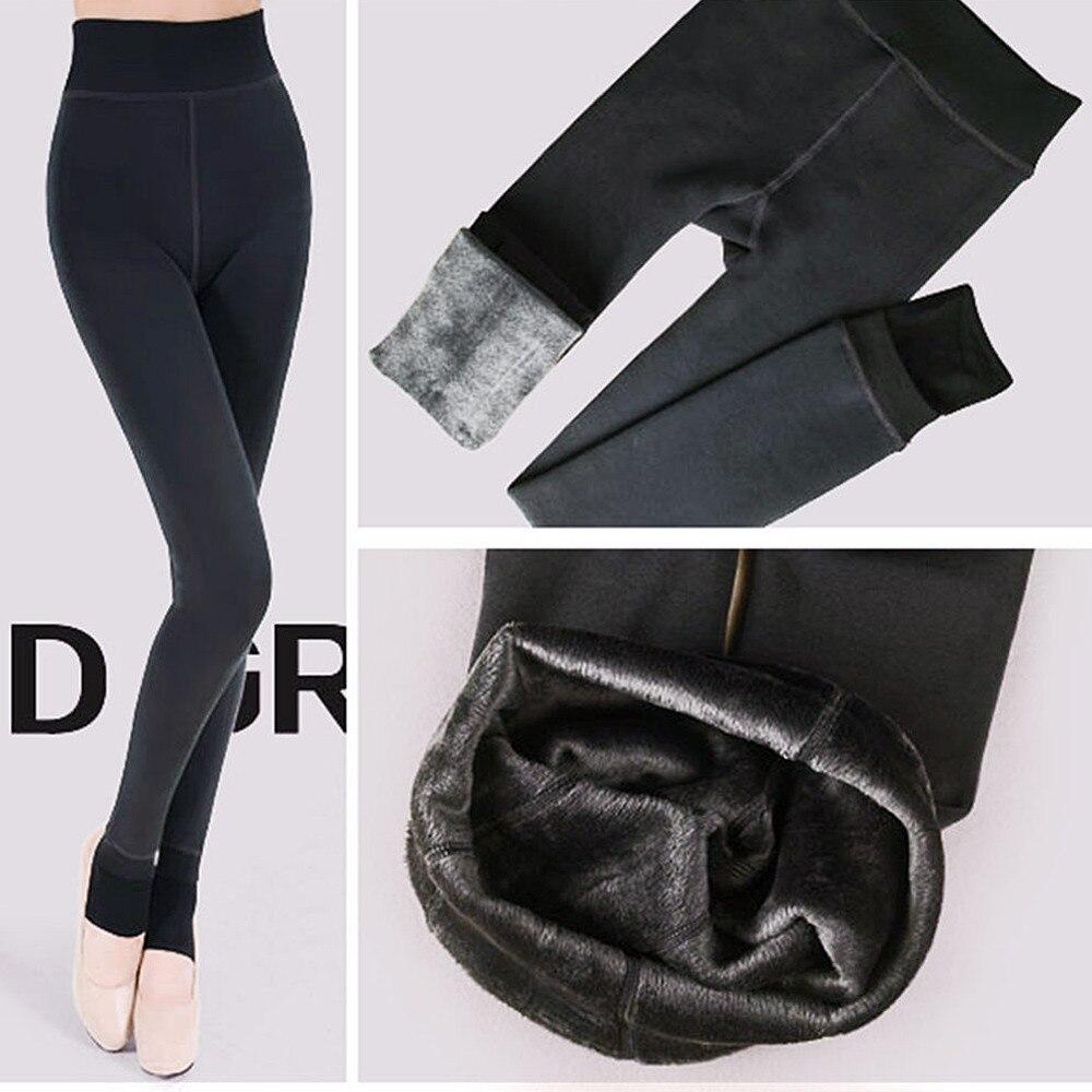 ebfb24b5721314 2019 High Waist Winter Warm Leggings Women Elastic Velvet Thick Slim ...