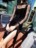 Элитный бренд весенние пикантные Вельветовое платье женский, Черный вечерние платье Модные женские Клубные разрез платье футляр