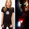 2015 Hot Sale Ironman Logotipo Carta Impressão T-shirt Dos Ganhos Das Mulheres S-2XL Preto Anime Roupas Estilo Verão Camiseta Homem De Ferro