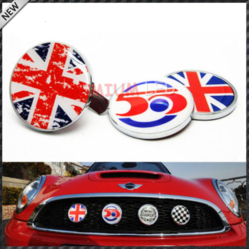 classic wreath metal front grill badge w holder for all mini cooper r50 r55 r56 r57 r58 r60. Black Bedroom Furniture Sets. Home Design Ideas