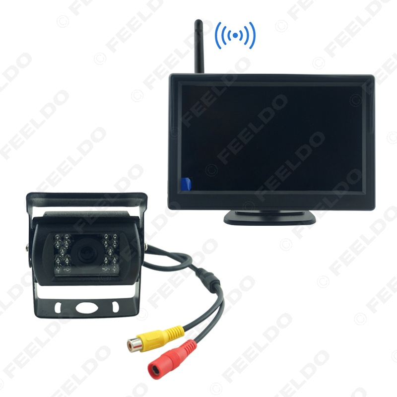 For Truck Bus Wireless IR Night Vision Camera+ 5 Inch Wireless LCD Monitor Rear View Backup System DC12V-24V #FD-3860