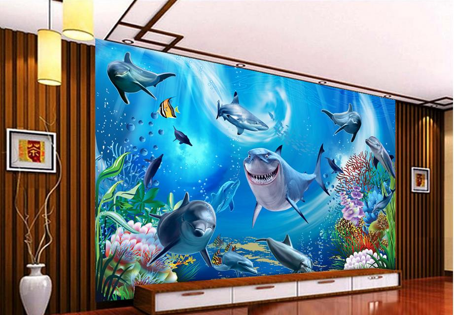 3d Wall Mural Wallpaper Custom Walls Underwater World Of The Living Room TV Backdrop Paper In Wallpapers From Home Improvement On