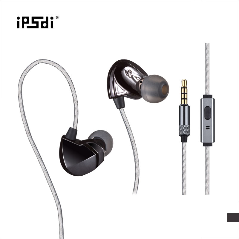 Ipsdi Dynamic High Fidelity In Ear Earplug Earphones Surround Sound 3.5mm HiFi Waterproof Headset with Mic for Mobile Phone Mp3 ufo pro metal in ear earphones treadmill female drug sing karaoke audio headset diy mobile phone
