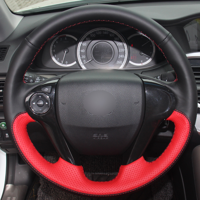 Black Natural Leather Red Natural Leather Steering Wheel Cover for Honda Accord 9 Odyssey Crosstour 2013