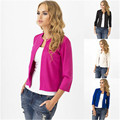 Women Slim Solid Suit Blazer Jacket Coat Outwear 3/4 Sleeve Casual Tops Spring Autumn Cardigan Candy Color Blouse Short Hot