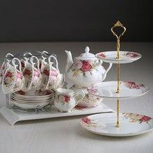 Английский послеобеденный чай, черный чайный сервиз, набор керамических кофейных чашек, Европейский чайный сервиз из костяного фарфора, 15 шт., фарфоровые кофейные сервизы, Прямая поставка
