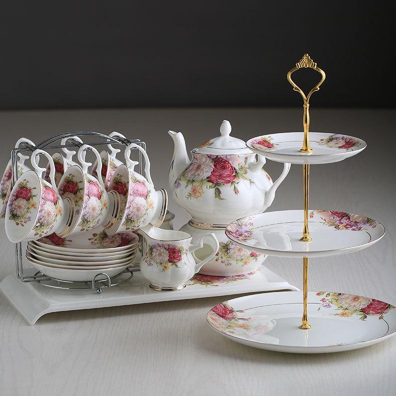 English afternoon tea black tea set ceramic coffee cup set European bone china tea set 15pcs Porcelain coffee sets Drop Shipping