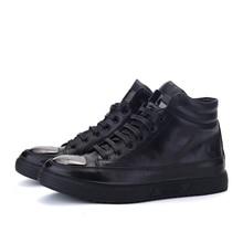 2016 Flat Heel Metal head Men's Shoes Autumn Winter Ankle Boots Male Snow Boots Casual Men High top Black Tn Shoes-E