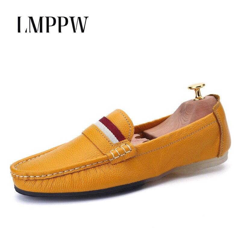 Luxo Flat Shoes 2a amarelo Casual De Condução Azul Sapatos Verão Marca Couro Suave Calçados Mocassins Moda Natural Da branco Homens Respirável zRpvn5wTqv