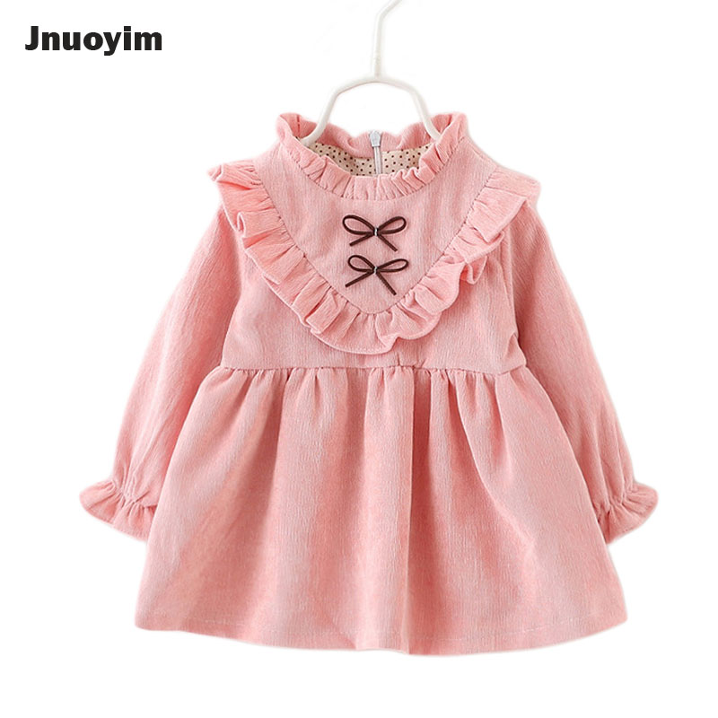 2017 New Fashion Princess Baby Girls Dress Autumn Winter Children Clothes Pink Purple Color Infant Toddler Dresses Kids Clothing