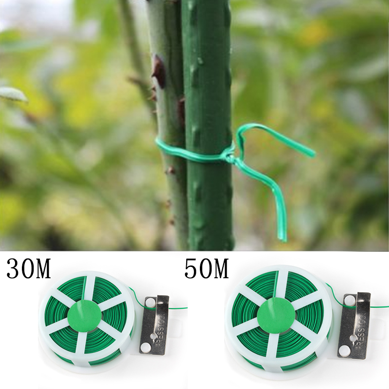 30M 50M Metal Garden Twist Tie Wire Cable Reel With Cutter Gardening Plant Bush Flower Farmer Tool(China)