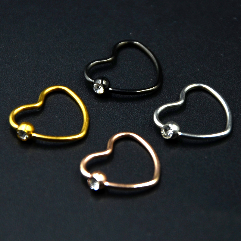 200Pcs Titanium Plated Stainless Steel <font><b>Heart</b></font> Shape Ear Tragus Daith Ring Jewelry Piercing <font><b>Earring</b></font> Free Shipping image
