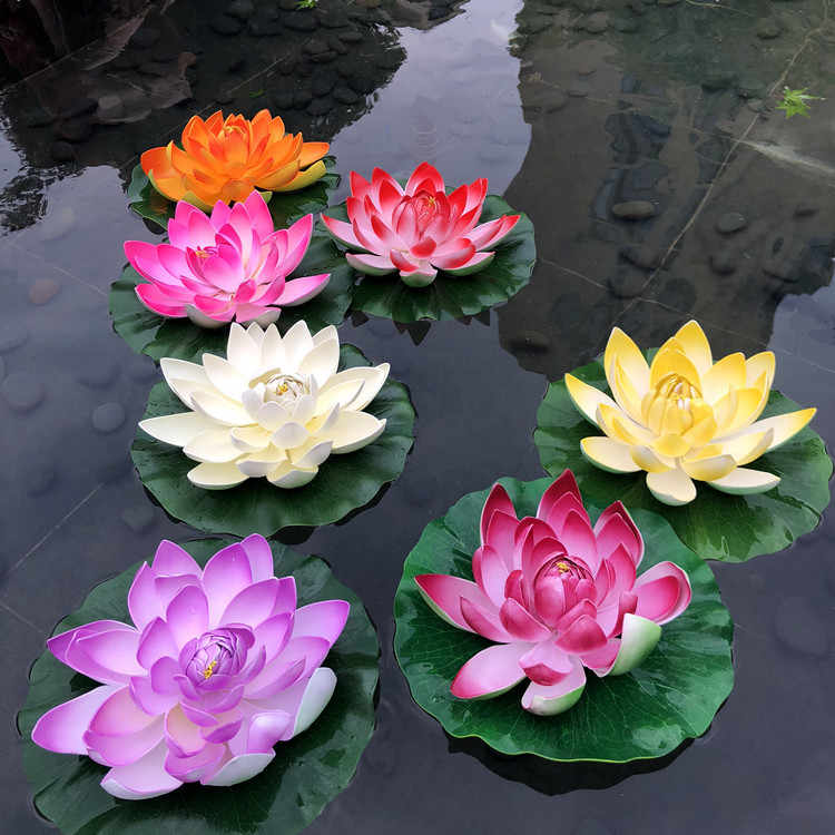 1 PCS 10cm Floating Lotus Artificial Flower Wedding Home Party Decorations DIY Water Lily Mariage Fake Plants
