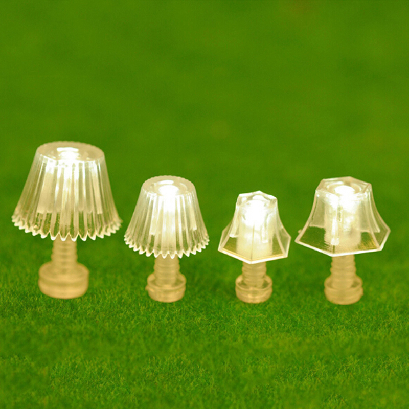 1:25 Plastic Mini Lighting Table Lamp Dollhouse Miniatures Accessories Doll House Bedroom Floor Lamp For Kid