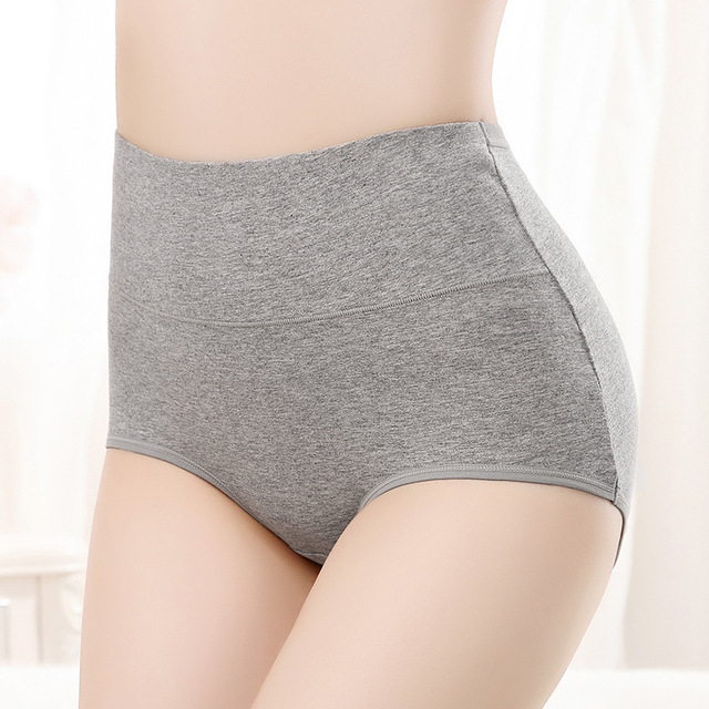 VU115 Solid Pure Cotton Panties High Waist Body Shaping Underwear Women Large Size Breathable Lingerie Pretty Briefs