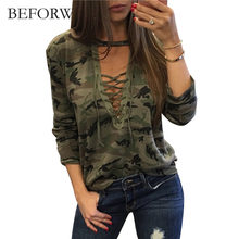 BEFORW Camouflage Tshirt Sexy Deep V Women Tops Summer Autumn Fashion Pull Rope Long Sleeve T-shirts High Quality Casual T shirt(China)