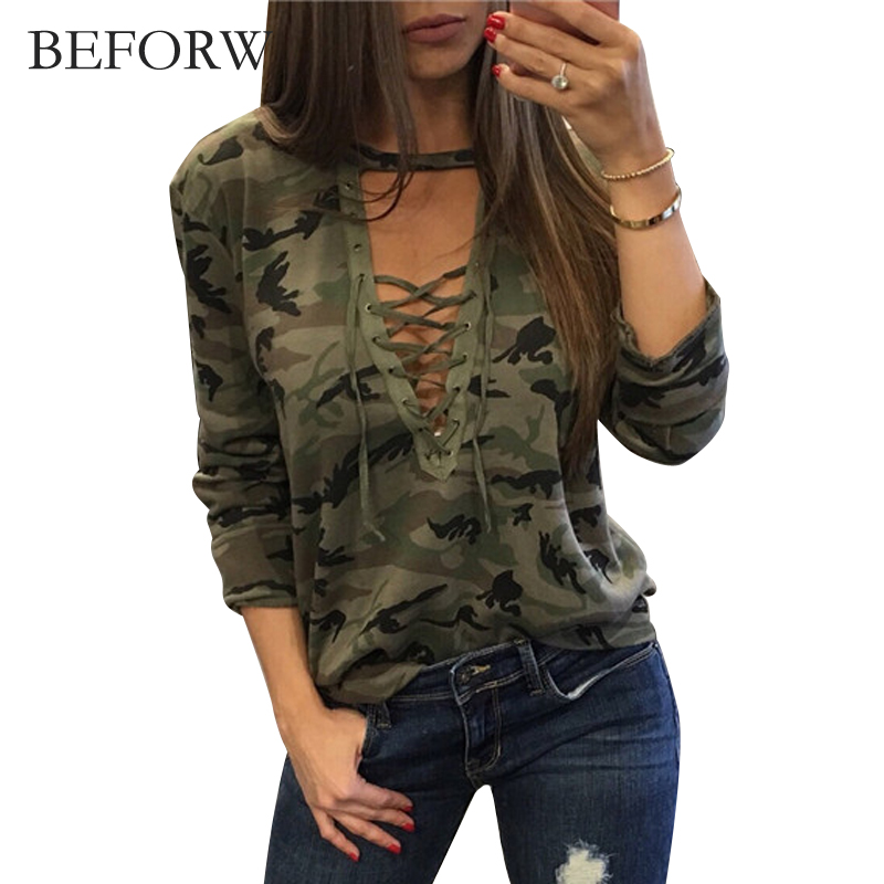 BEFORW Camouflage Tshirt Sexy Deep V Women Tops Summer Autums