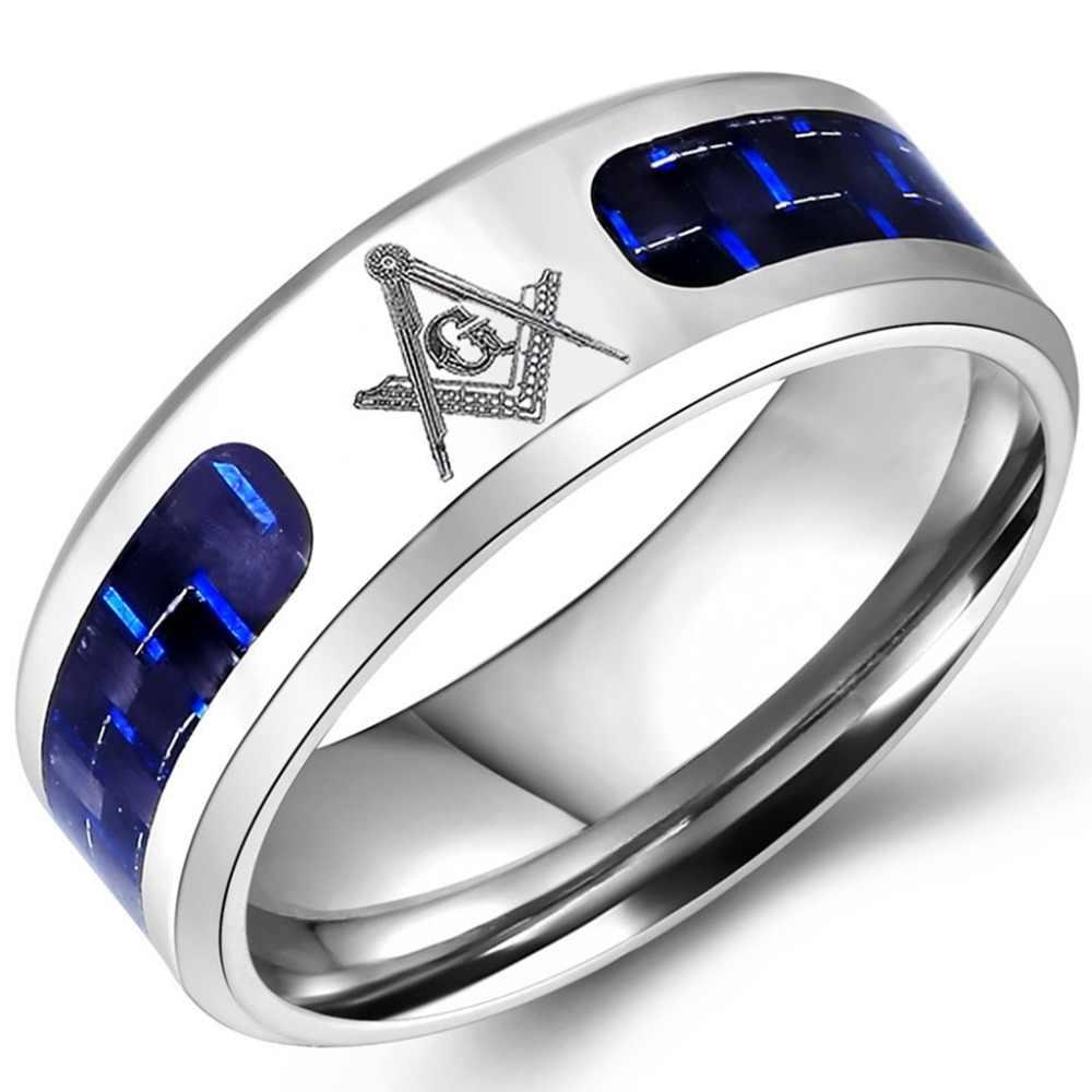 Size 5 16 Stainless Steel Masonic Ring Wedding Band Freemasonry