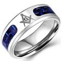 Size 5-16 Stainless Steel Masonic Ring Wedding Band Freemasonry Cocktail Knight Templar Mason Master Engagement Fiber Inlay